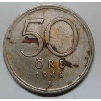 Jm * Suecia Plata 50 Ore 1946