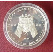 Moneda Conmemorativa De Encuentro De 2 Mundos En Plata