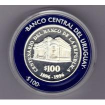 Uruguay Moneda Conmemorativa 100 Años Del Brou Plata Proof