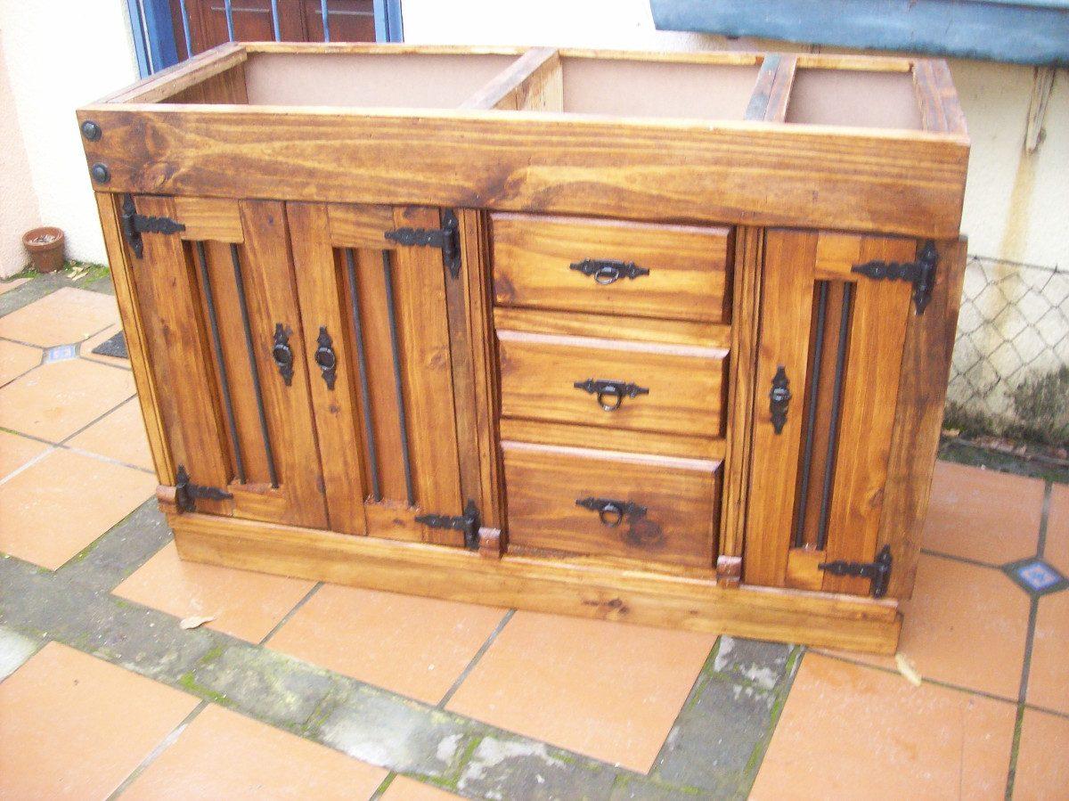Mueble Bajo Mesada Macizo 3 Ptas Y 3 Cajones Con Hierro  $ 10800,00