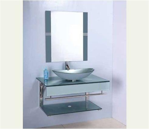 Mueble en vidrio para el ba o c bacha valv y espejo - Vidrio para bano ...
