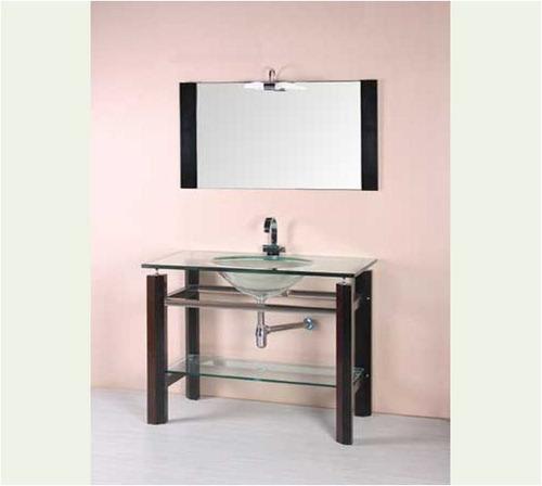Mueble Para Baño Con Espejo, Madera Y Vidrio Mesada Y Pileta  U$S