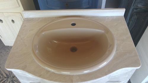 Tipos De Bachas Para Baño:Mueble Para Baño En Marmol Sintetico Con Mesada Y Bacha – $ 9900,00