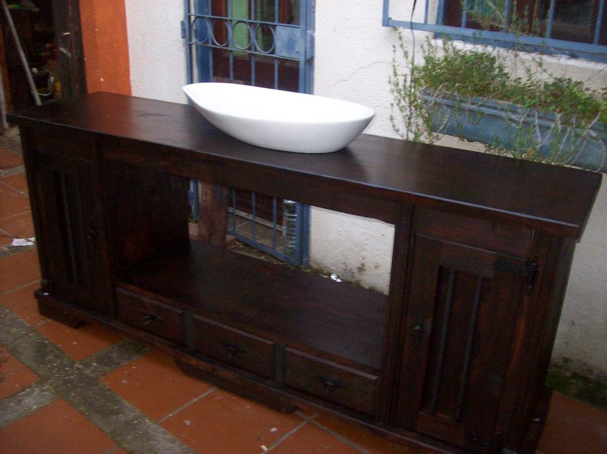 Bachas Para Baño Rusticas:Bajo Mesada De Baà ±o Rustica Puertas Y Estantes Pictures to pin