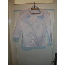 Camisa Blanca De Tela Escote En V Con Botones Talle M
