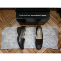 Cuero Natural Suela Goma Taco Corrido Zapato Mujer