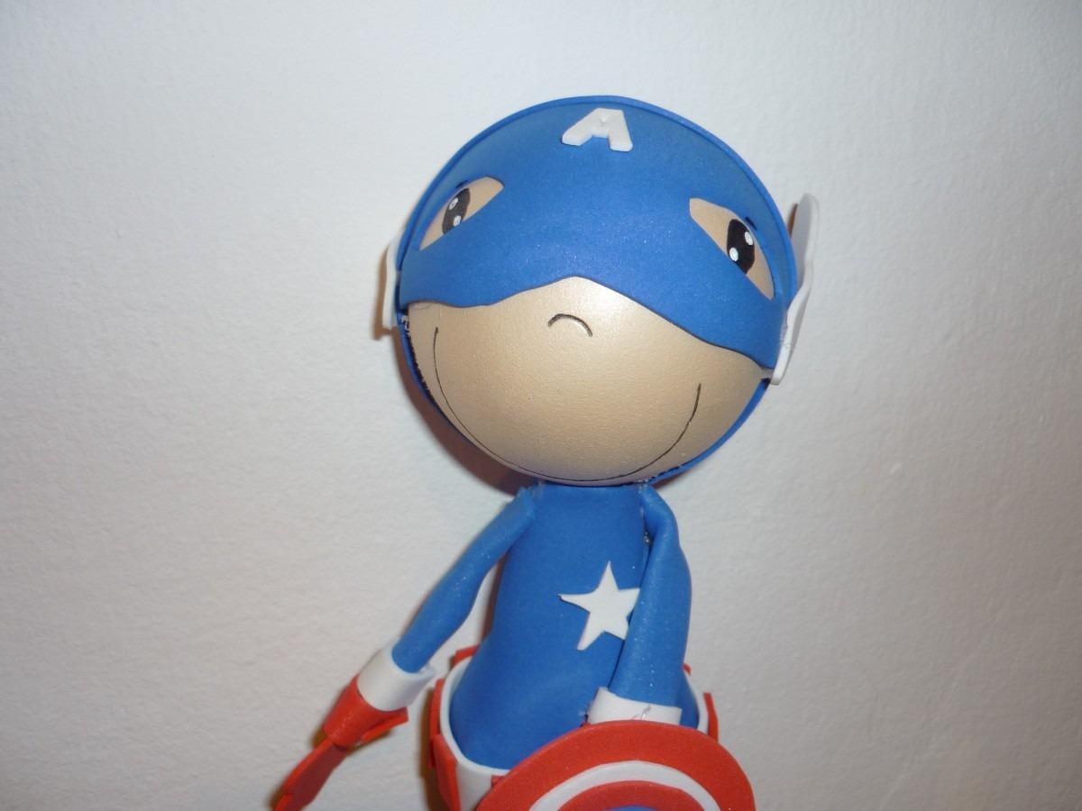 muñeco fofucho capitán américa. centro de mesa, adorno torta