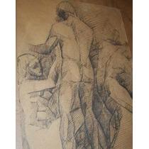 Antigua Pintura Nankin Desnudos Eroticos