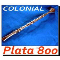 Bombilla Colonial Plata 800 Sellada No Cuchillo Daga Broqua