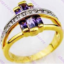 Anillo Amatistas Y Circonias En Oro Goldfilled 10k Talle 9