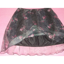 Preciosa Minifalda Dama Negra De Gasa $300