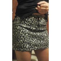 Original Pollera Mini Negra De Jean Estampada Talle S O 40
