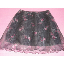 Preciosa Minifalda Negra De Gasa