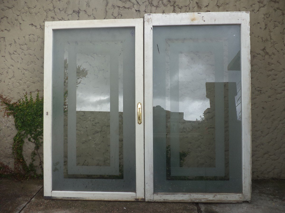 Puertas ventanas madera mampara divisoria vidrio antiguas for Puertas interiores antiguas madera
