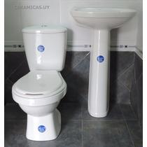 Juego De Baño Loza Sanitaria Blanco Water Inodoro Mochila