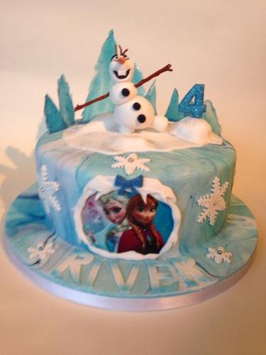 Decoracion De Tortas Con Baño Wilton:Torta Decorada Frozen Elsa Olaf Pelicula Disney Baño Wilton – $ 450