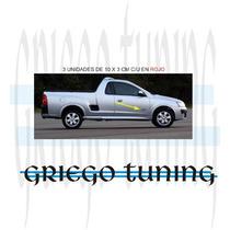 Tun Adhesivo En Vinilo Camioneta Chevrolet Montana 3 Unid