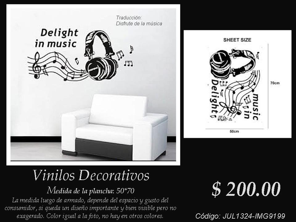 Vinilos decorativos aud fonos y notas musicales con - Vinilos decorativos musicales ...