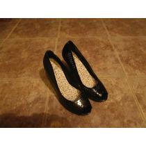 Zapatos De Charol Con Tacos Altos Y Plataformas. Número 39.